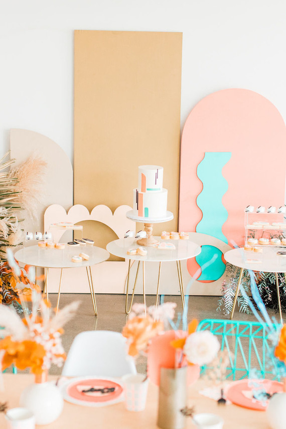 Colorful cake table for girls birthday party