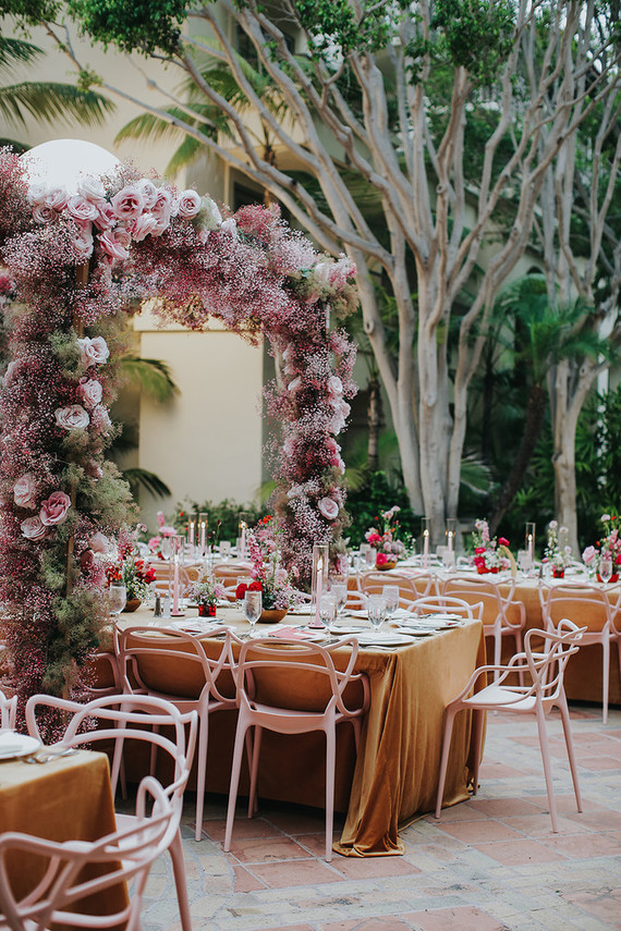 All pink wedding decor