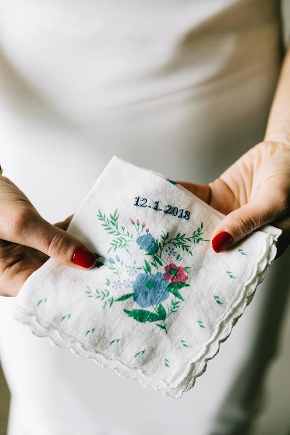 Handmade wedding handkerchief