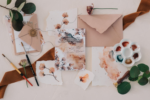 Fine art watercolor wedding invitations