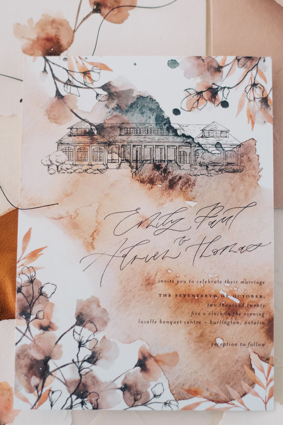 Fall watercolor wedding invitations