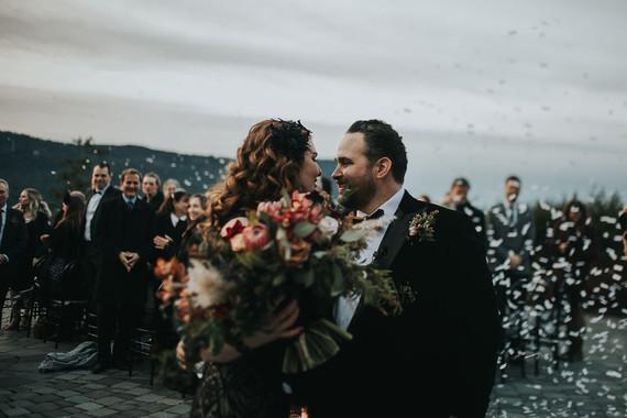 Confetti at wedding ceremony