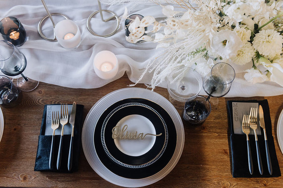 Industrial black and white wedding decor