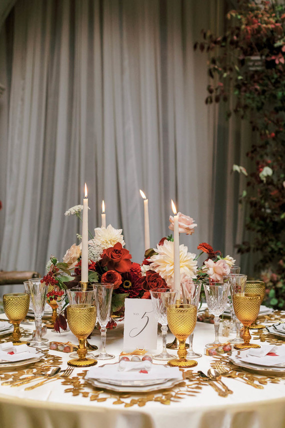Red and gold holiday table