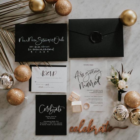 NYE wedding invitations