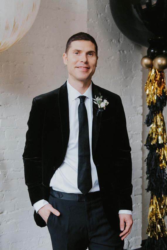 Black groom's suit