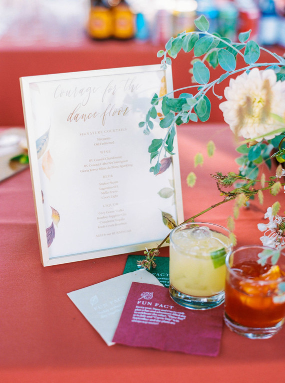 cocktail hour menu at wedding