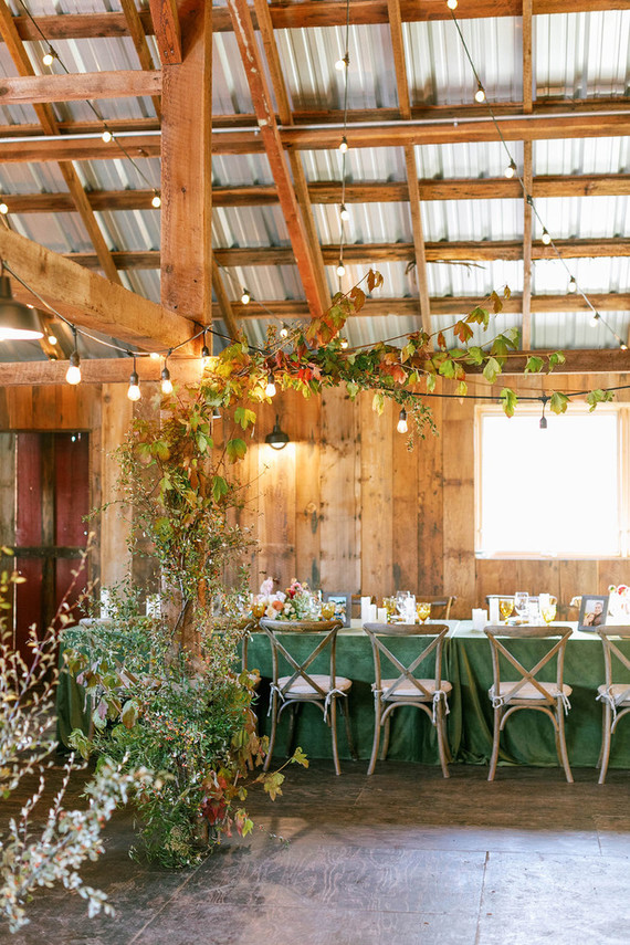 fall barn reception decor