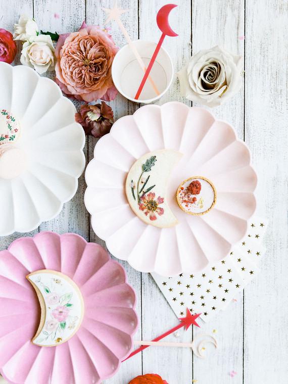 Moon themed floral sugar cookies