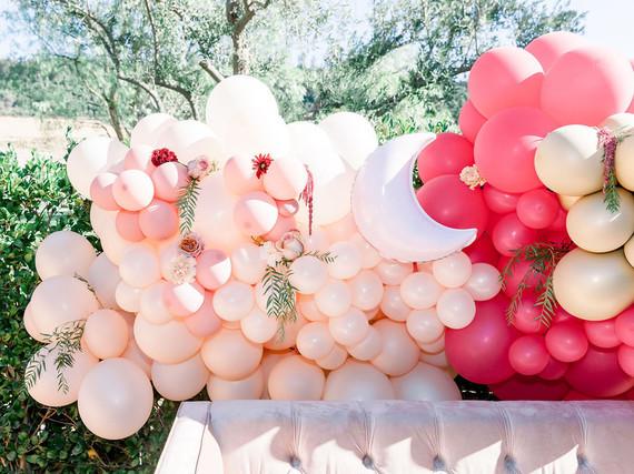 Moon themed balloon installation