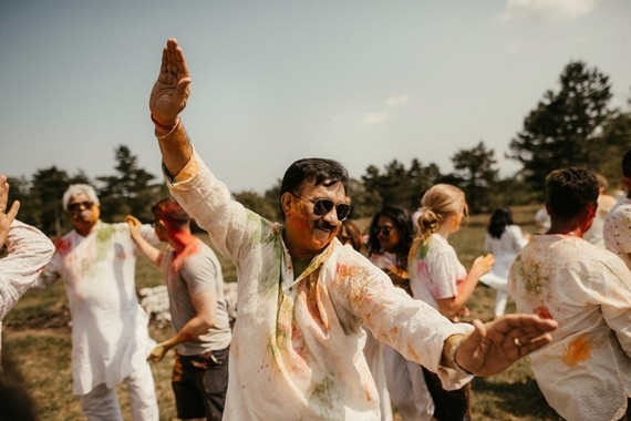 Colorful powder party at Indian wedding
