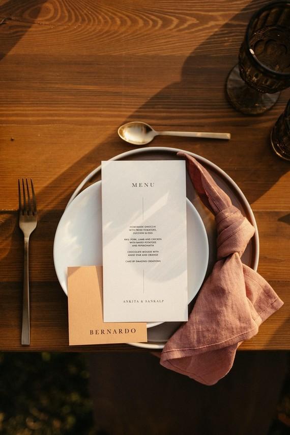 Modern menu and place settings