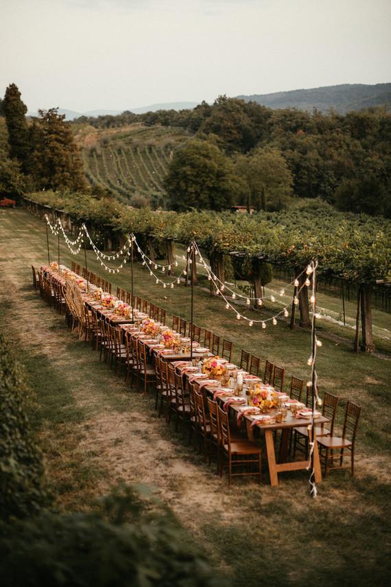Long table at villa wedding