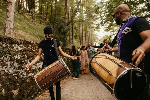 modern Indian wedding in a medieval castle