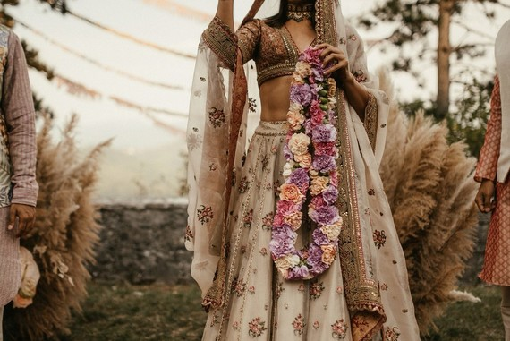 modern bohemian Indian wedding ceremony