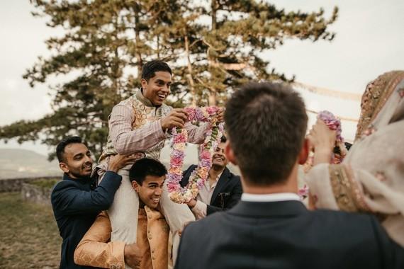 modern bohemian Indian wedding ceremony