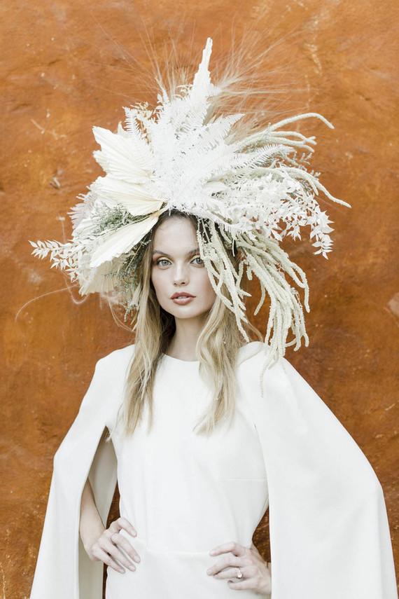 Dramatic bridal headpiece