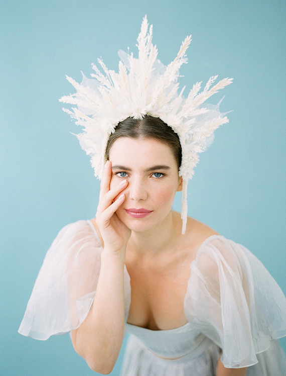 A bridal fashion look for each season? and four dramatic floral headpieces to match