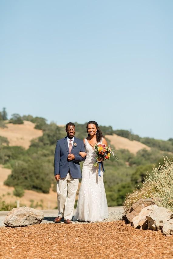 Bright, rustic orange + yellow Northern California ranch wedding