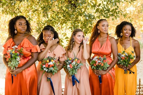 Orange and yellow bridesmaid dresses