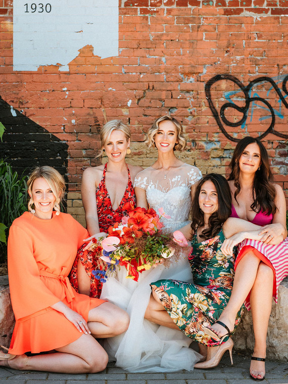 Colorful mismatched bridesmaids
