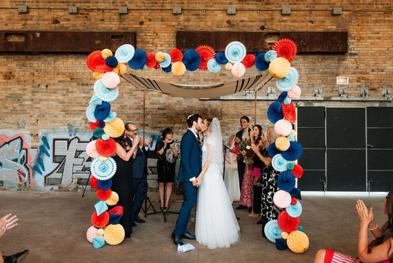 DIY rainbow ceremony arch