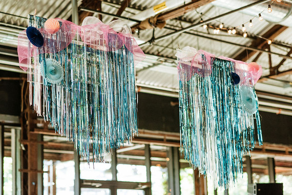 DIY wedding fringe installation