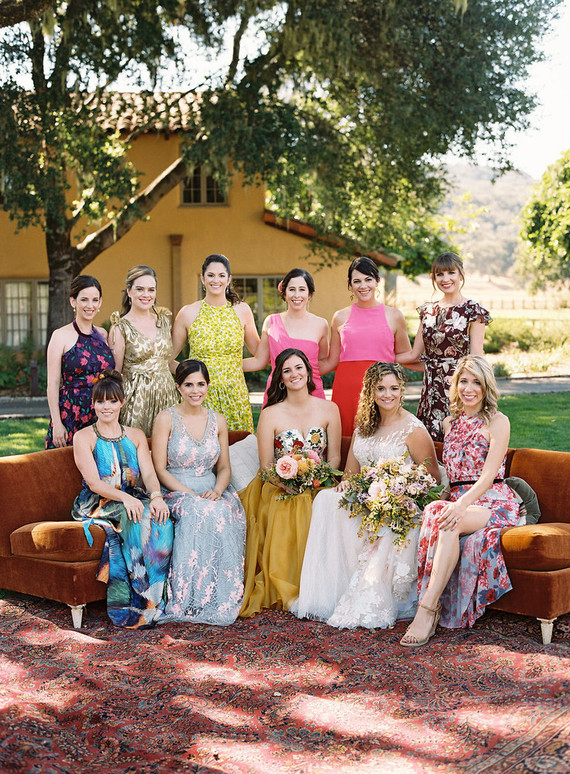 Colorful mixed prints bridesmaid dresses