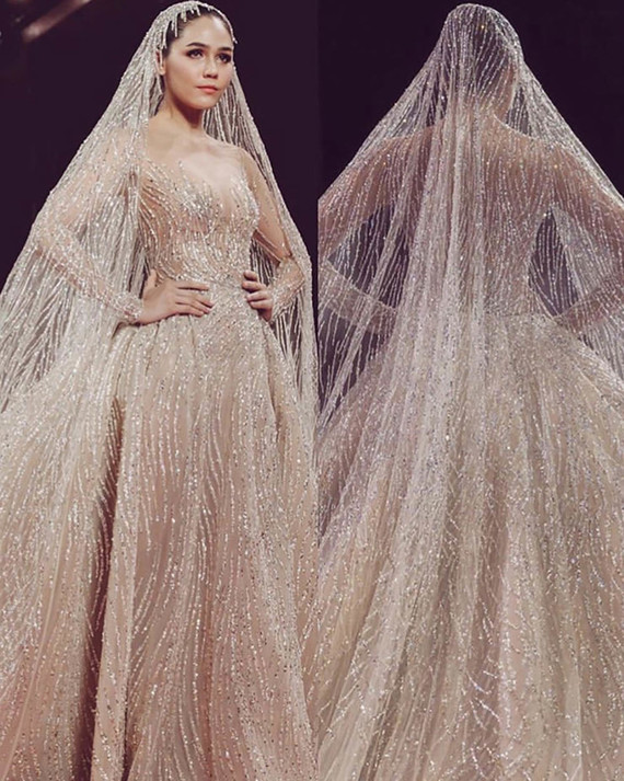 Sequin gown and veil
