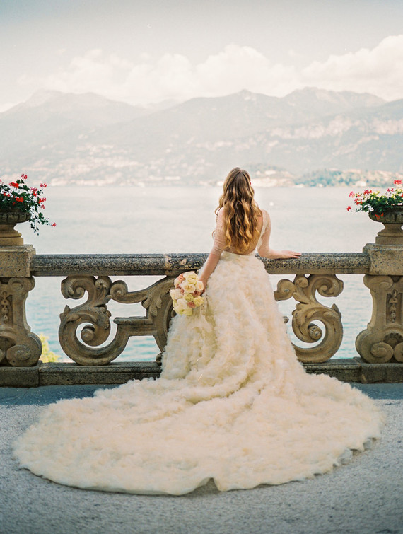 Dramatic ruffle wedding dress