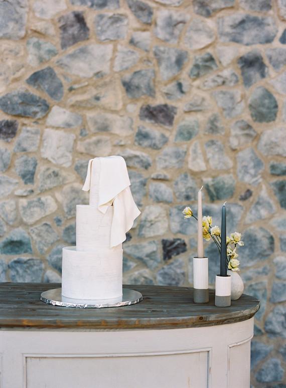 modern draped wedding cake