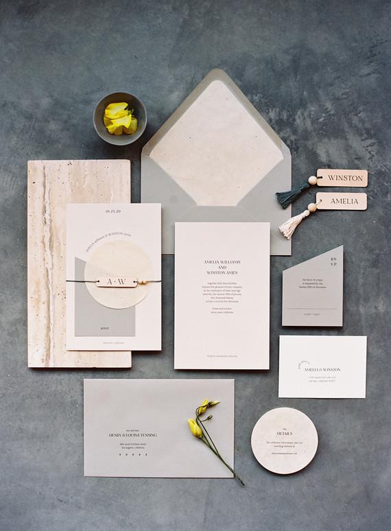 modern grey wedding invitations