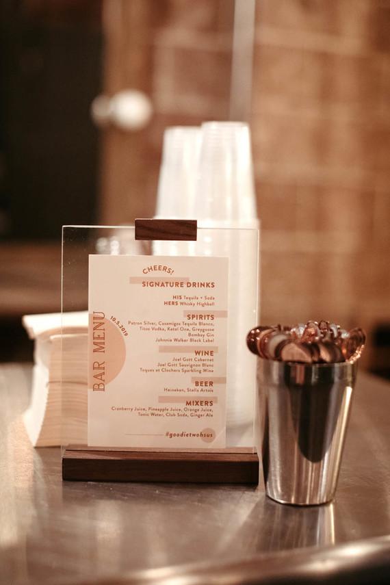 cocktail menu sign
