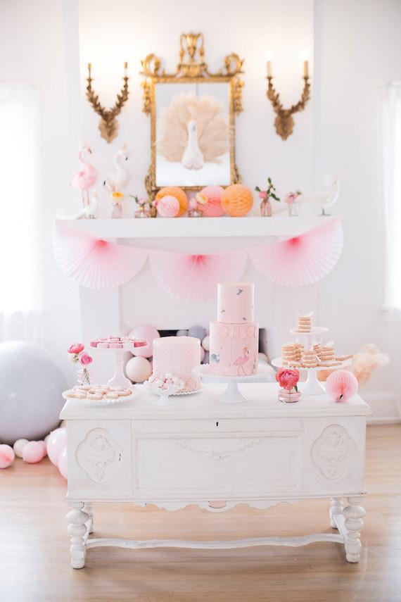 girl's birthday dessert table