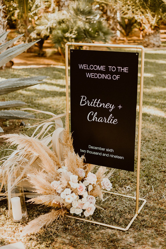 Black wedding sign