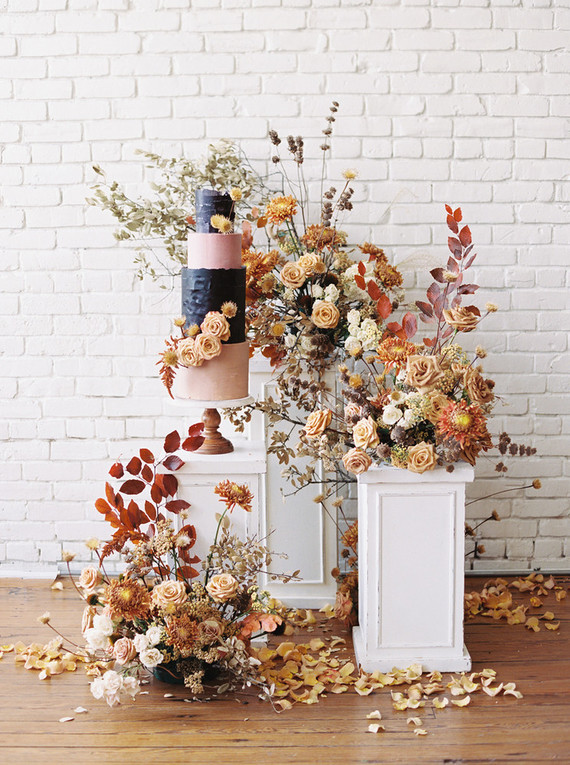 fall flowers and wedding cake