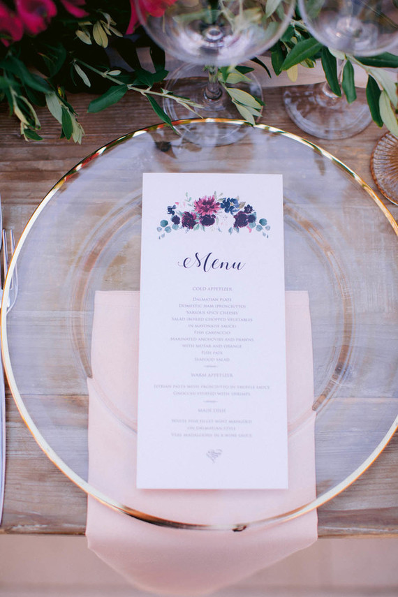 cute wedding place menu