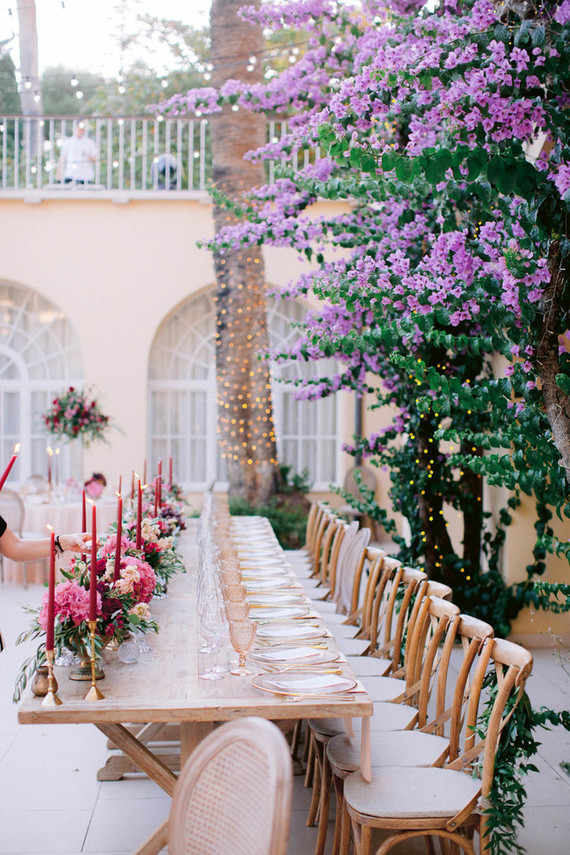burgundy and blush tablescape