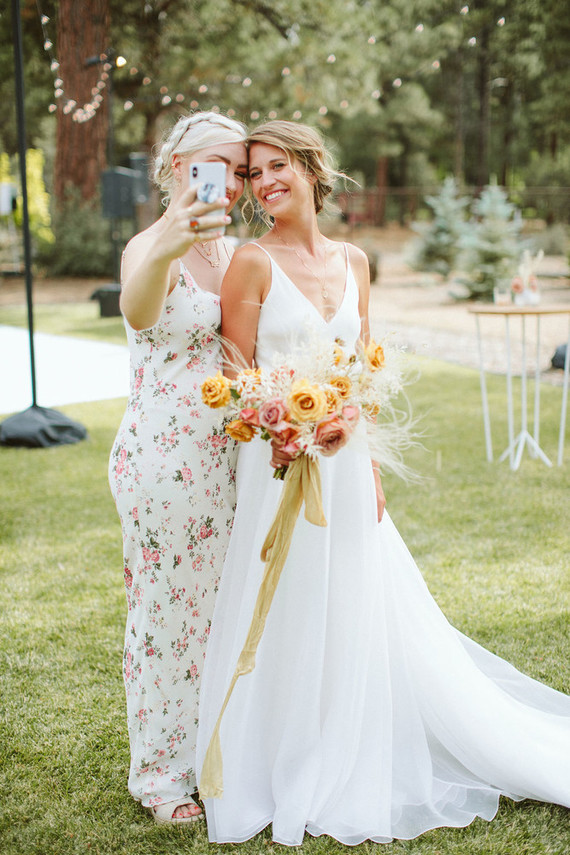 mismatched floral bridesmaids