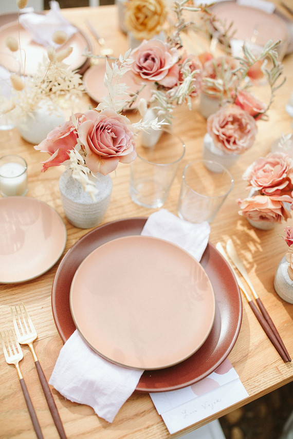 pink stoneware place setting