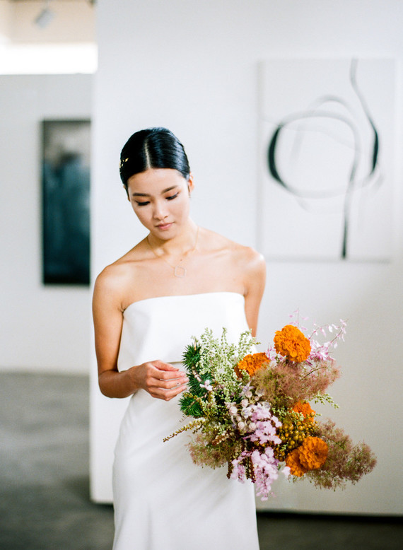 bright orange wedding bouquet