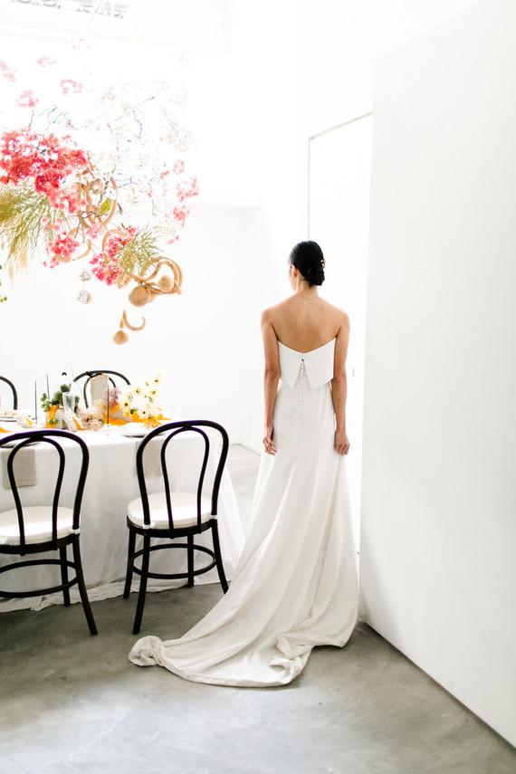 button strapless wedding dress