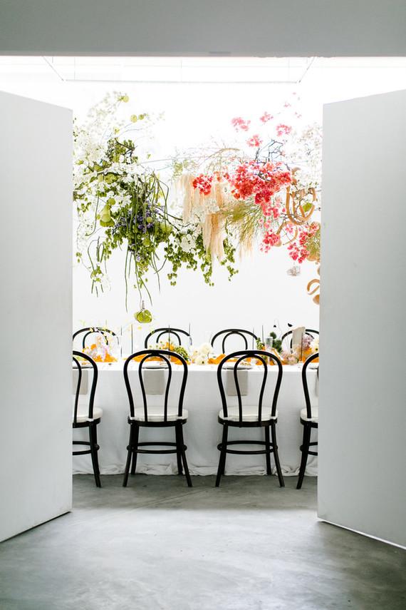 unique hanging floral installation