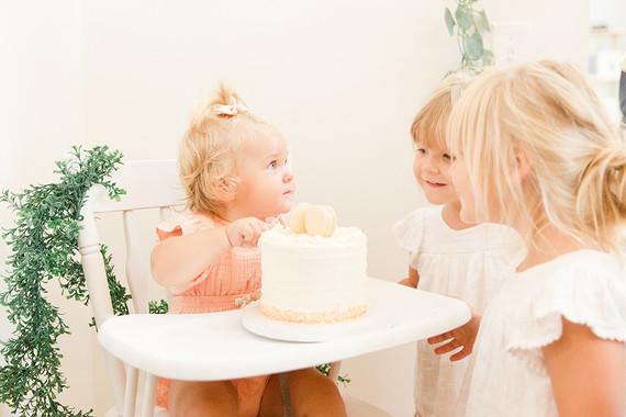 peach 1st birthday cake