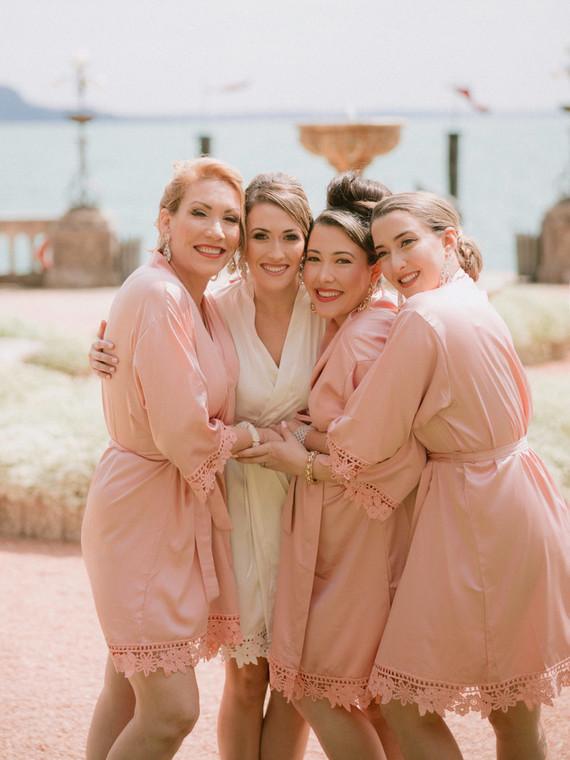 Pink bridesmaid robes