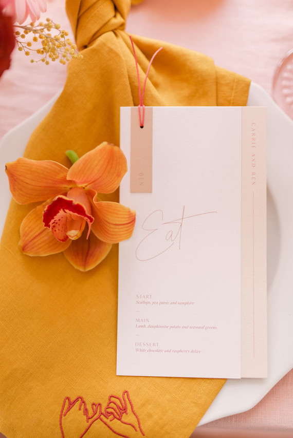 blush menu for wedding