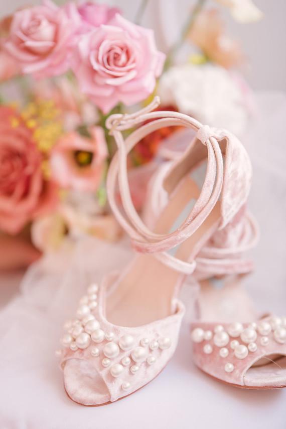 pink pearl bridal heels