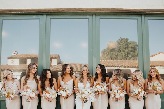 neutral bridesmaids slip dresses
