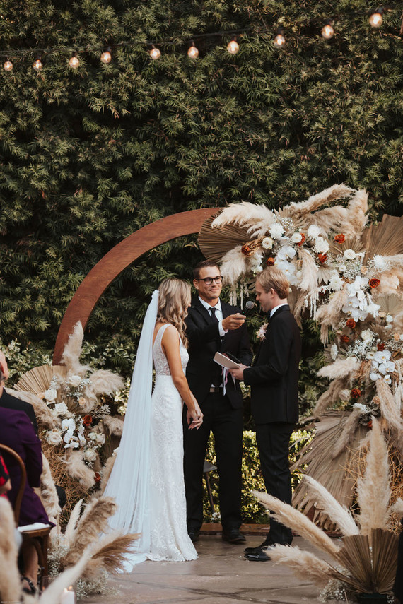 Bohemian pampas grass ceremony hoop