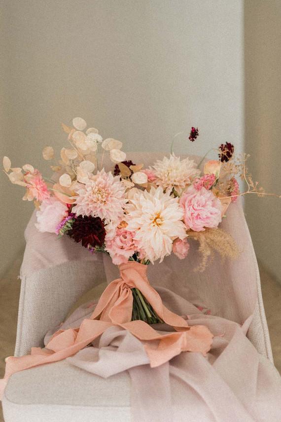 pink dahlia bridal bouquet
